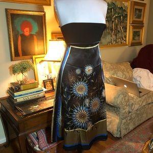 Laundry silk strapless sundress -poly stretch bust